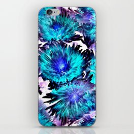 Turquoise Purple Abstract Flowers iPhone Skin