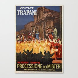 Italian travel ad Christian Easter procession Trapani Canvas Print