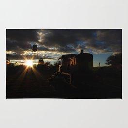 Sun Rays, Silo, and Train Car Rug