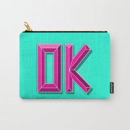 """""""OK"""" 3D Letters (Mint Green, Deep Pink) Carry-All Pouch"""
