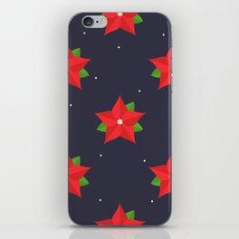 Poinsettia Christmas Pattern iPhone Skin