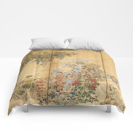 Japanese Edo Period Six-Panel Gold Leaf Screen - Spring and Autumn Flowers Comforters