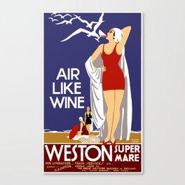 Vintage Weston Super Mare England Travel Canvas Print