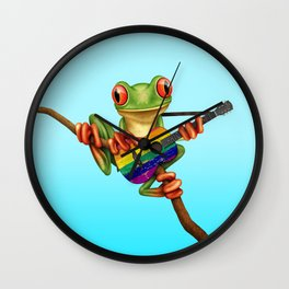 Tree Frog Playing Acoustic Guitar with Gay Pride Rainbow Flag Wall Clock