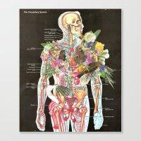 skeleton Canvas Prints featuring Skeleton by Ben Giles
