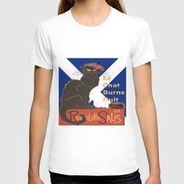 Le Chat Burns Nuit Haggis Dram Scottish Saltire T-shirt