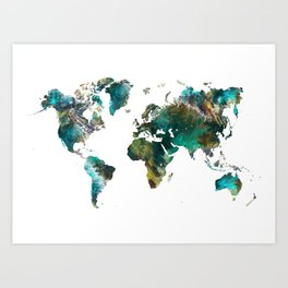 Map of the World tree #map #world Art Print