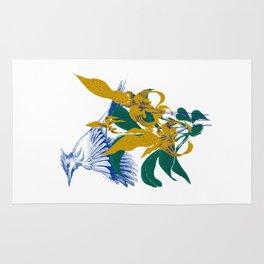 Midnight blooms - Asian paradise fly catcher bird Rug