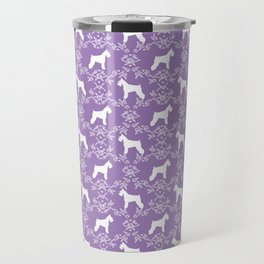Schnauzer floral silhouette pattern schnauzers minimal lilac purple dog Travel Mug