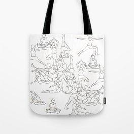 Yoga Asanas black on white Tote Bag