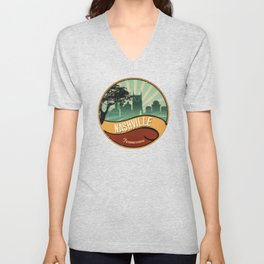 Nashville City Skyline Tennessee Retro Vintage Design Unisex V-Neck