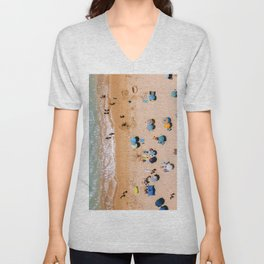 People On Algarve Beach In Portugal, Drone Photography, Aerial Photo, Ocean Wall Art Print Unisex V-Neck