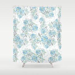 Blue flower garden watercolor Shower Curtain