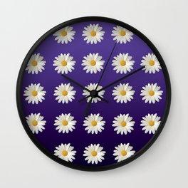 Daisies (blue-purple background) Wall Clock
