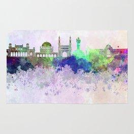 Hyderabad skyline in watercolor background Rug