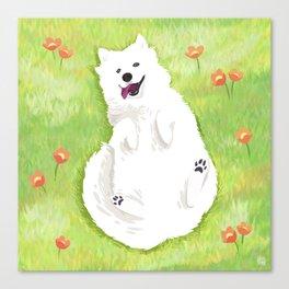 Happy Samoyed Canvas Print