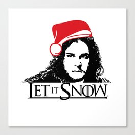Let it Snow Santa Hat Christmas is Coming Canvas Print