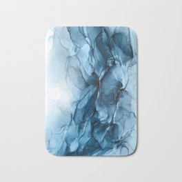 Deep Blue Flowing Water Abstract Painting Badematte
