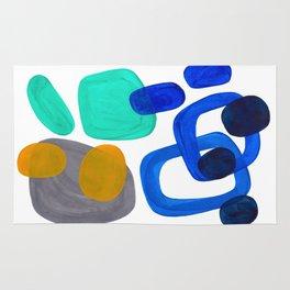 Minimalist Abstract Mid Century Modern Expressionist Organic Pattern Colorful Blue Aquamarine Teal Rug