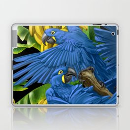 Hyacinth Macaws and bananas Stravaganza (black background). Laptop & iPad Skin