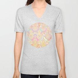 Rosy Opalescent Art Deco Pattern Unisex V-Neck
