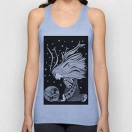 Night talking with cat Unisex Tank Top