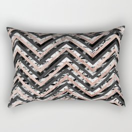 Black and White Marble and Rose Gold Chevron Zigzag Rectangular Pillow