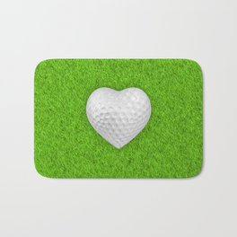 Golf ball heart / 3D render of heart shaped golf ball Bath Mat