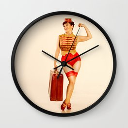 """""""Belle Hop"""" - The Playful Pinup - Retro Bell Hop Pinup Girl by Maxwell H. Johnson Wall Clock"""