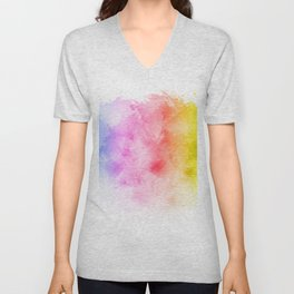 Rainbow abstract artistic watercolor splash background Unisex V-Neck