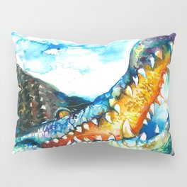 Crocodile Watercolor Painting Pillow Sham