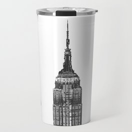 New York City Iconic Buildings-Empire State, Flatiron, One World Trade Travel Mug