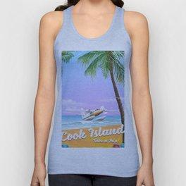Cook Islands vintage beach poster. Unisex Tank Top