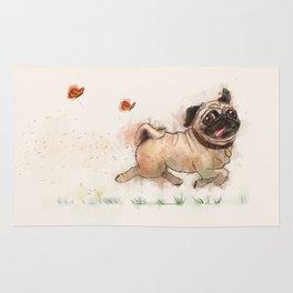 The Furminator pug watercolor like art Rug