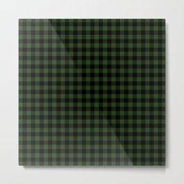 Dark Forest Green and Black Gingham Checkcom Metal Print