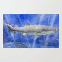 Shark Watercolor Painting Rug
