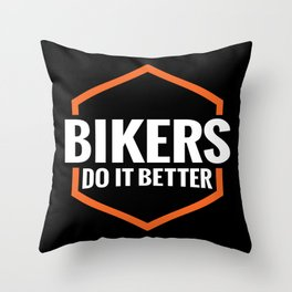 BIKERS DO IT BETTER ORANGE SQUARE Throw Pillow