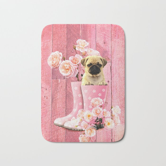 Pug Life Pink Bath Mat