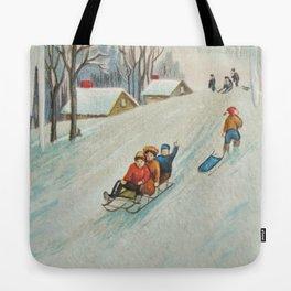Happy vintage winter sledders Tote Bag