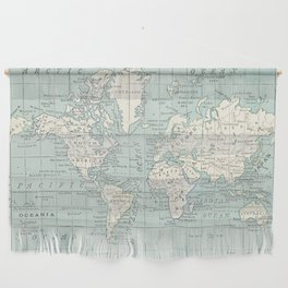 World Map in Blue and Cream Wall Hanging