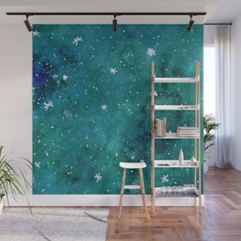 Watercolor galaxy - teal Wall Mural