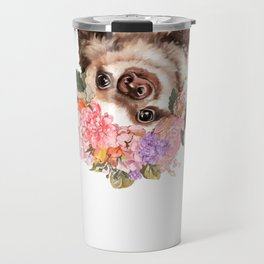 Baby Sloth with Flowers Crown in White Travel Mug