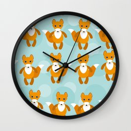 pattern with funny cute fox animal on a blue background Wall Clock