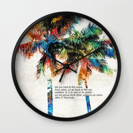 Colorful Palm Trees - Returning Home - By Sharon Cummings Wall Clock
