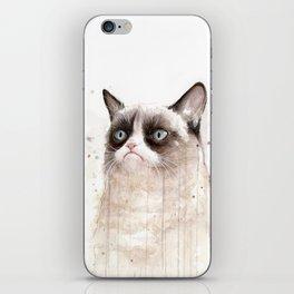 Grumpy Watercolor Cat Geek Meme Whimsical Animals iPhone Skin