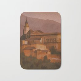 Alhambra Vintage Travel Poster Granada Spain Bath Mat