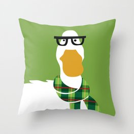 Hipster Duck Throw Pillow