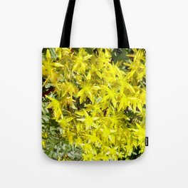 BLOOMING YELLOW SEDUM SPRING FLOWERS GARDEN ART Tote Bag