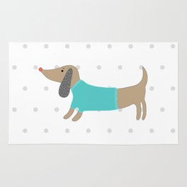 Cute hand drawn dog in dotted background Rug