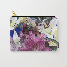PURPLE & WHITE ASIAN GARDEN LILIES DRAWING Carry-All Pouch